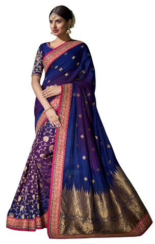 Blue and Magenta Pure Viscose Partywear Saree