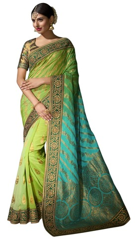Light Green Pure Viscose Bollywood Saree