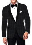 Mens Slim fit Casual Black Polyester Viscose Checks Blazer Sport Jacket Coat
