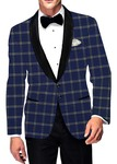 Mens Slim fit Casual Royal Blue Checks Sports Blazer sport jacket coat Shawl Lapel