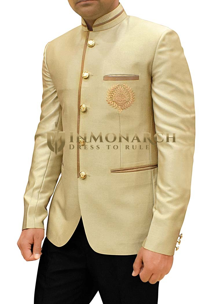 Mens Champagne Color Polyester Jodhpuri Suit Embroidered