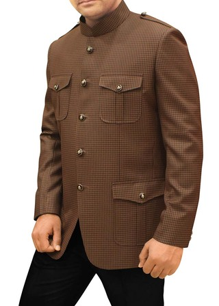 Mens Brown Polyester Viscose 2 Pc Jodhpuri Suit Safari