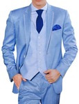 Mens Sky Blue Polyester 6 Pc Partywear Suit Notched Lapel