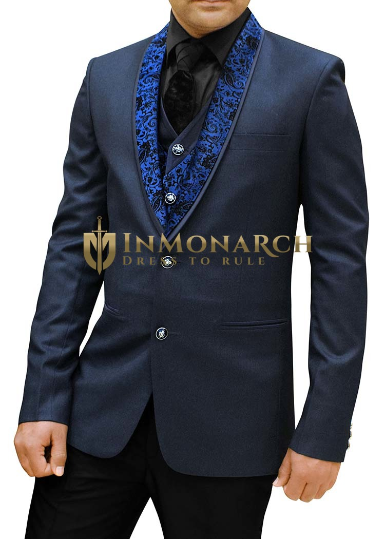 Mens Dark Navy Polyester 5 Pc Partywear Suit Designer