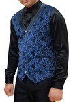 Mens Blue Velvet Suits Vest Paisley Design