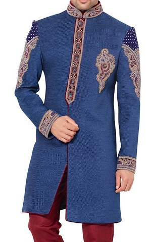 Mens Blue Jute 2 Pc Indowestern Designer Embroidered