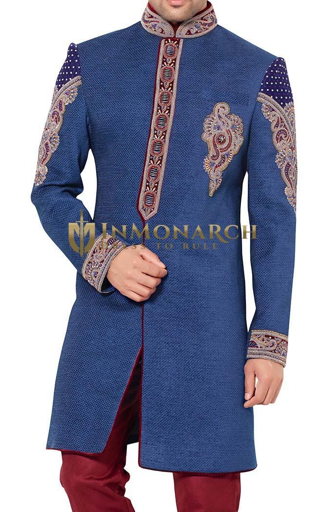Indian Wedding for Men Blue Indowestern Designer Embroidered