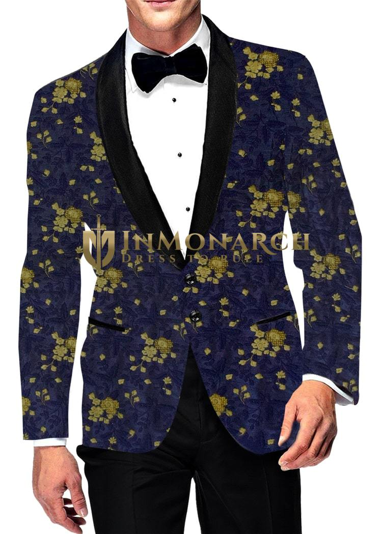 Mens Slim fit Casual Navy blue Blazer sport jacket coat Two Button with all over embroidery