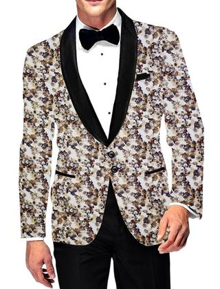 Mens Slim fit Casual White Blazer sport jacket coat Digital Printed Two Button