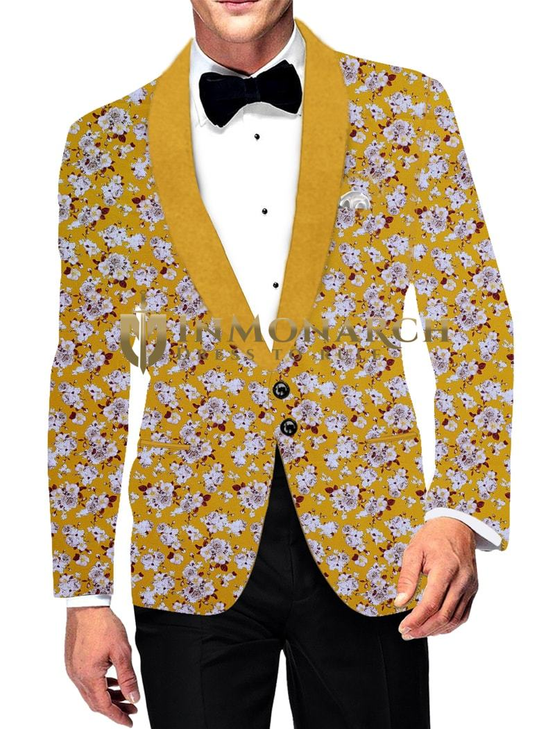 Mens Slim fit Casual Yellow Blazer sport jacket coat Digital Printed Two Button polyester Suede
