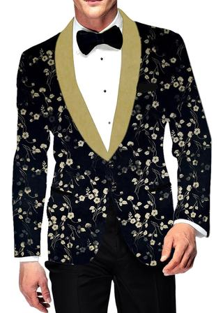 Mens Black Digital Printed Two Button polyester Suede Blazer