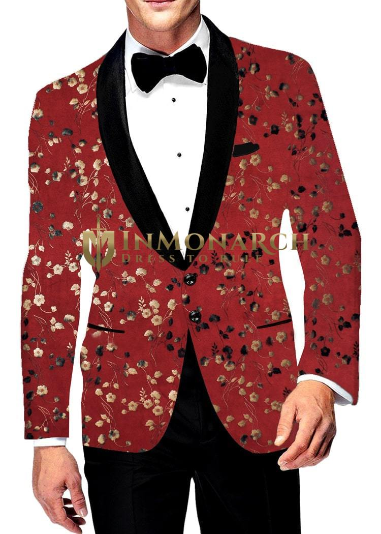 Mens Slim fit Casual Wine Blazer sport jacket coat Digital Printed Two Button polyester Suede