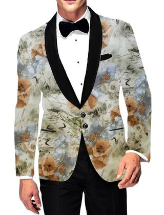 Mens Slim fit Casual Green Blazer sport jacket coat Digital Printed Two Button polyester Suede