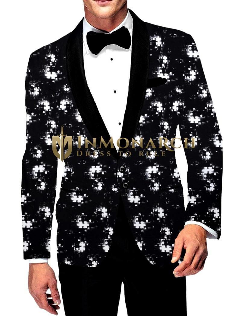 Mens Slim fit Casual Black and White Blazer sport jacket coat Digital Printed Two Button polyester Suede