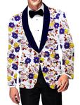 Mens Slim fit Casual White Blazer sport jacket coat Digital Jacquard Two Button polyester