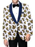 Mens Slim fit Casual White Blazer sport jacket coat Two Button Digital printed cotton linen