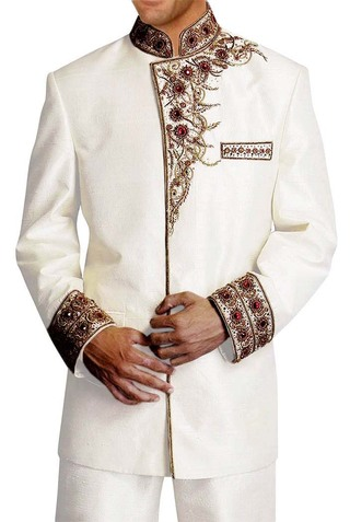 Mens Cream 2 Pc Jodhpuri Suit Designer Embroidered