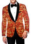 Mens Slim fit Casual Orange Blazer sport jacket coat Digital  Print Two Button polyester