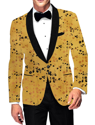 Mens Two Button Slim fit Blazer Shawl Collar Printed Polyester Suede marigold Sport Jacket Coat