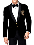 Mens Slim fit Black Velvet Casual Blazer with Golden hand Embroidery