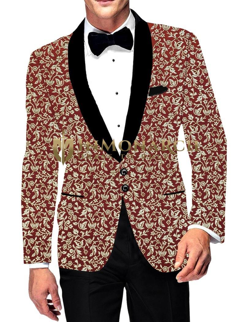 Mens Slim fit Maroon Silver zari brocade Sport Jacket Casual Blazer Coat