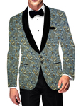 Mens Slim fit Printed Suede Green Blazer Sport Jacket Shawl Lapel Two Button Coat