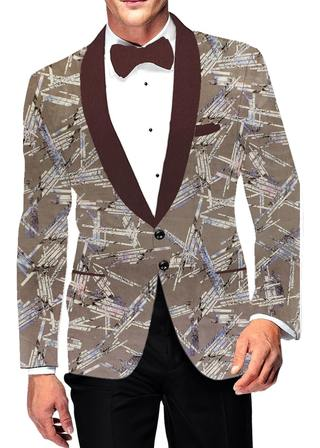 Mens Shawl Lapel Two Button Slim fit Olive Drab Blazer Sport Jacket Printed Coat