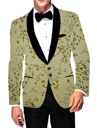 Mens Two Button Slim fit Green Shawl Collar Blazer Sport Jacket Leafs Prints Coat