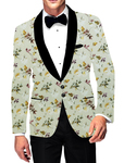 Mens Sport Two Button Slim fit Blazer Shawl Collar green Jacket Printed Coat