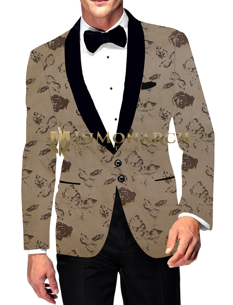Mens Sport Slim fit Blazer Bronze Jacket Two Button Black Shawl Lapel Printed Coat