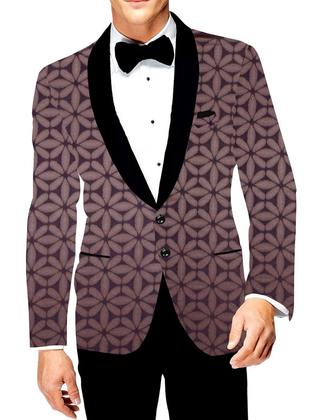 Mens Two Button Blazer brown Slim fit Jacket Sport Printed Coat Black Shawl Lapel