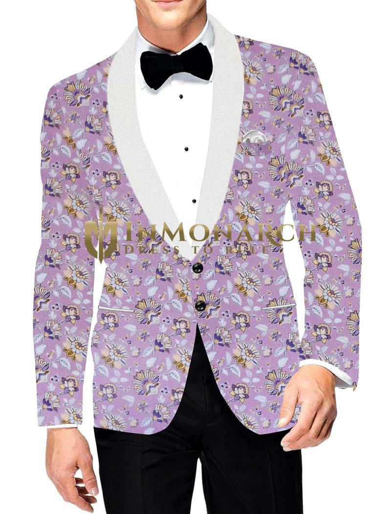 Mens Printed Pink Slim fit Two Button Blazer Jacket Sport Coat white Shawl Lapel