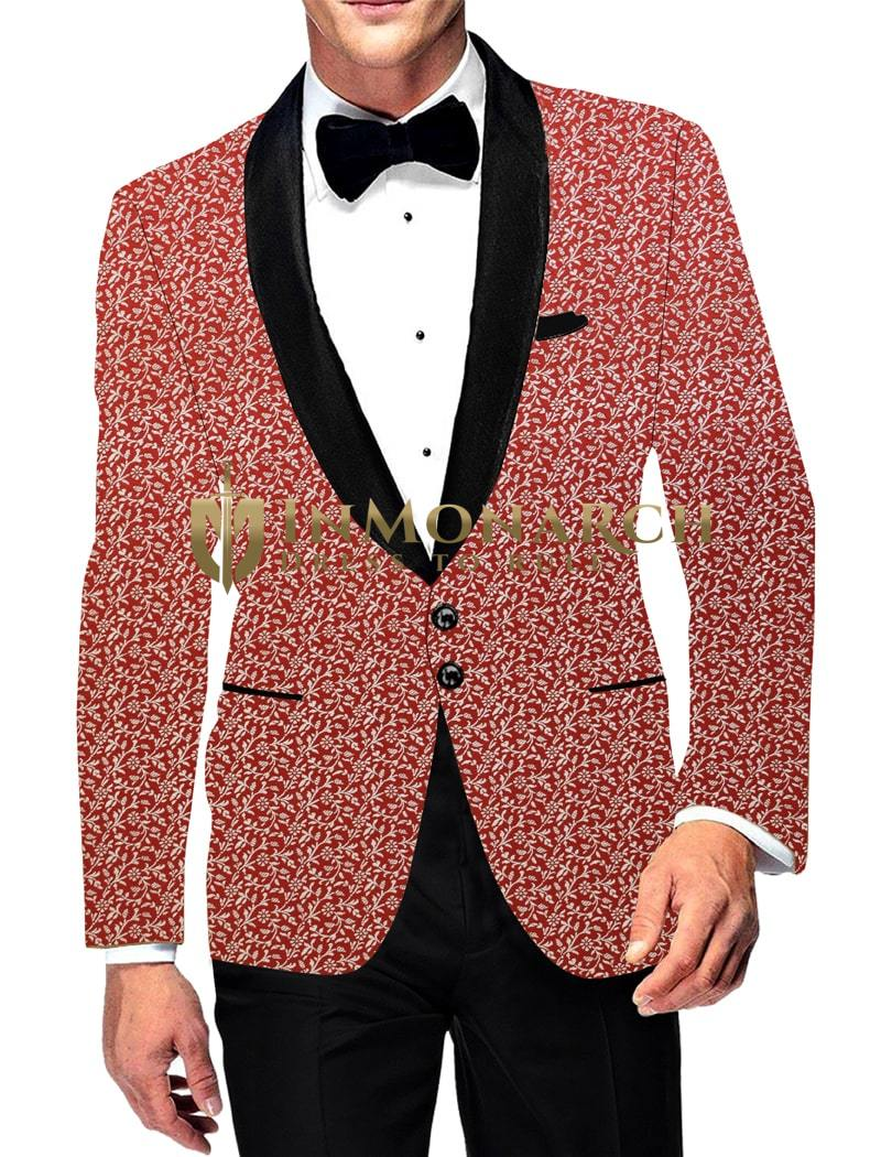 Mens Two Button Sport Jacket Casual Red Slim fit Blazer Coat with all Over Embroidered