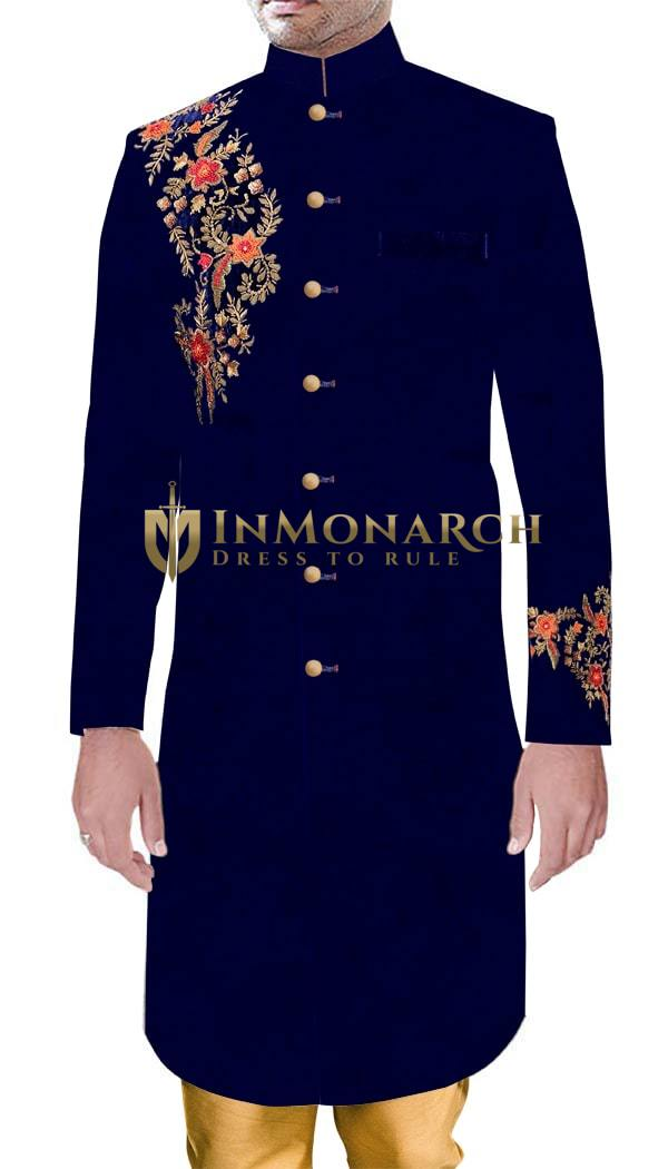 Mens Indian Wedding Navy Blue Velvet Sherwani Marriage Party wear Traditional Outfit