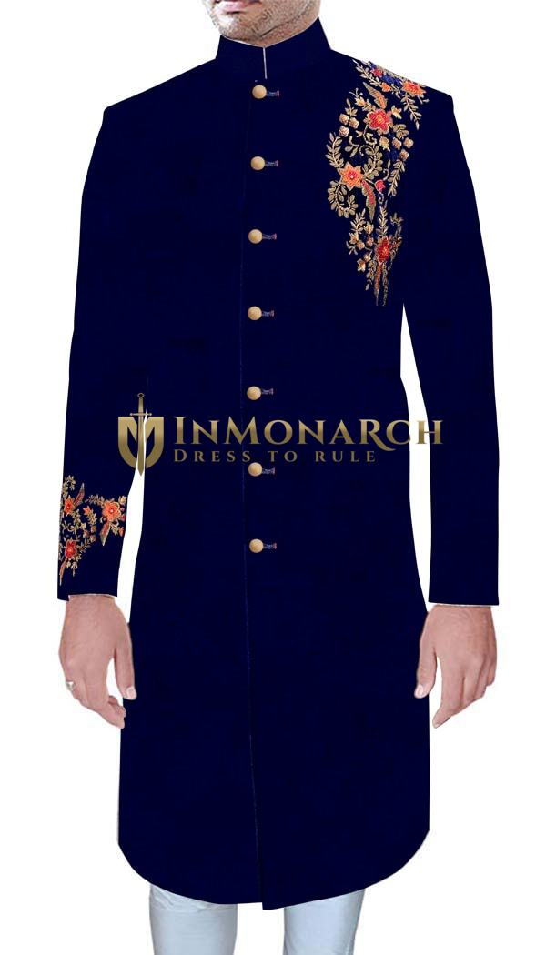 Mens Traditional Embroidery Work Navy Blue Velvet Indian Wedding Sherwani For Men