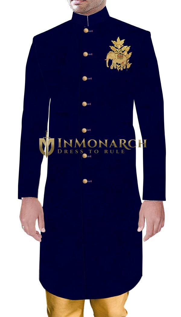 Mens Indian Ethnic Wear For Groom Navy Blue Velvet Trendy Embroidery Work
