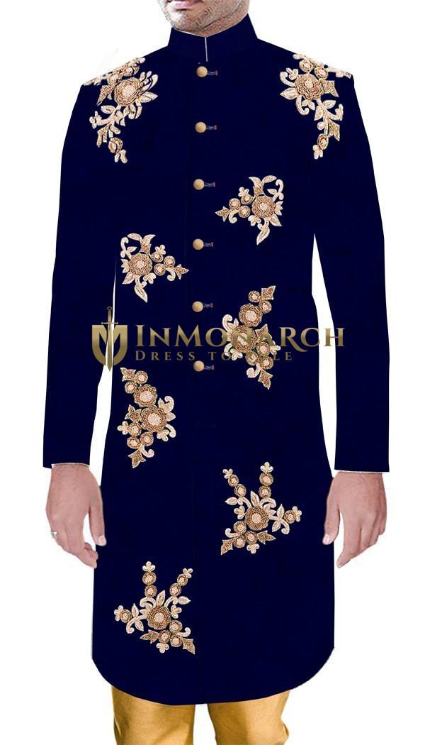 Groom Threads Embroidered Navy Blue Velvet Indian Wedding Sherwani Set For Men