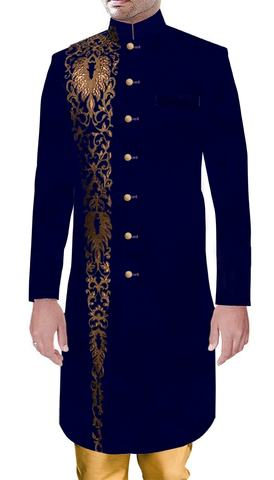 Men Sherwani Royal Outfit Wedding Sherwani Blue Velvet with Amazing Embroidery Work
