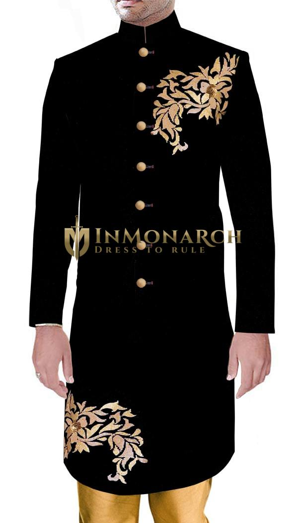 Mens Black Sherwani Ethnic Indian Dress Black Velvet Wedding Gold Embroidery Sherwani
