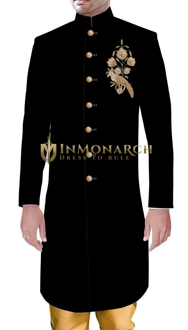 Mens Wedding Indian Designer Wedding Sherwani For Groom Black Velvet Golden Embroidered