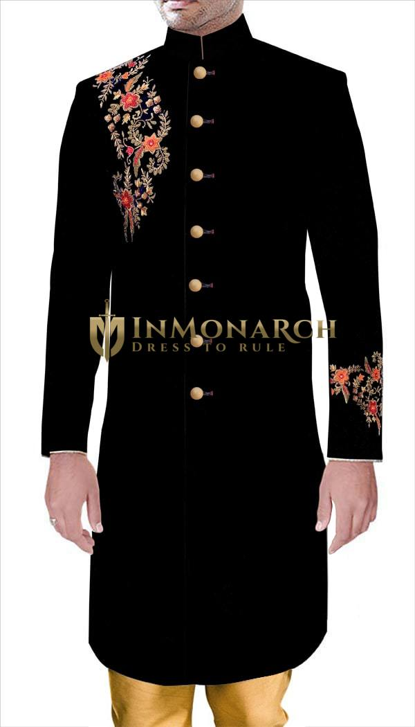 Groom Wedding Partywear Royal Outfit Black Velvet Sherwani Hand Embroidery Work