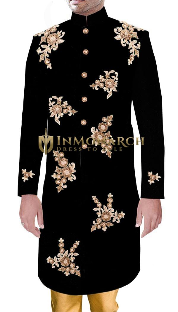 Groom Indian Partywear Royal Outfit Black Velvet Sherwani with Heavy Embroidered