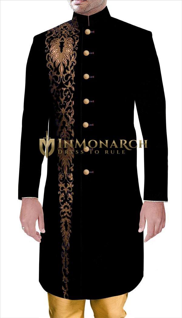 Mens Indian WeddingMen Latest Men Black Velvet Sherwani Designs Thread Embroidered