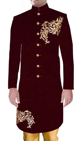 Mens Indian Ethnic Wear For Groom Maroon Wedding Sherwani with Golden Embroidery