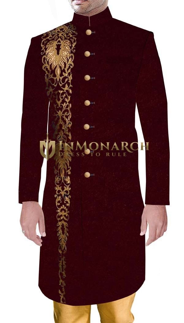 Mens Traditional Style Wedding Maroon Sherwani with Golden Buttons and Embroidery