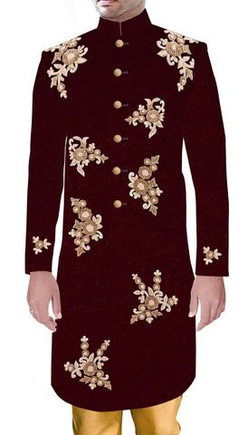Mens Wedding Heavily Embellished Sherwani Maroon Sherwani Partywear Royal Outfit