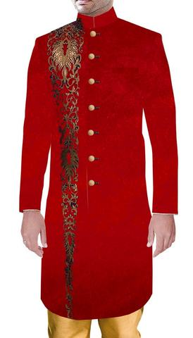 Mens Partywear Royal Outfit Red Wedding Sherwani with Golden Embroidery