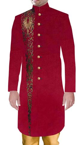 Mens Sherwani Indian Wedding Crimson Sherwani Marriage Party wear Outfit