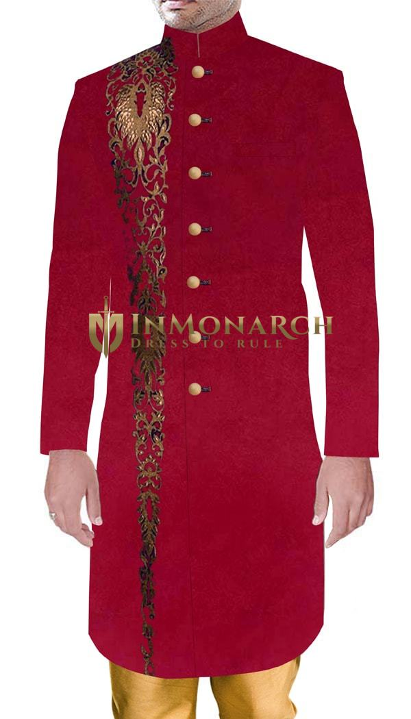MensSherwani Indian Wedding Crimson Sherwani Marriage Party wear Outfit
