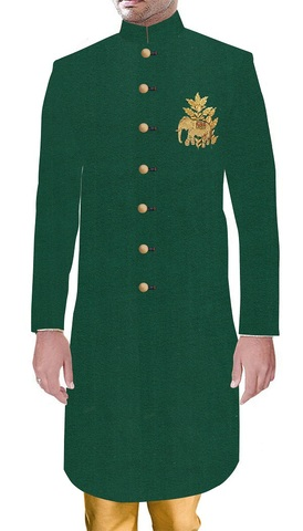 Mens Sherwani Indian Wedding Sherwani For Men Green Ethnic Dress with Embroidery